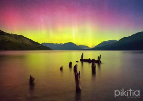 Aurora Australis over Lake Wakatipu, from Glenorchy, Queenstown, New Zealand